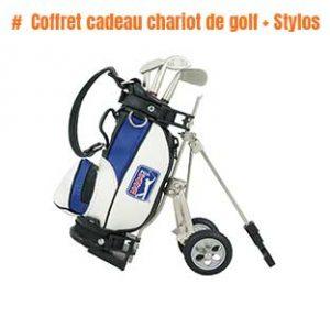 Coffret cadeau chariot de golf + Stylos