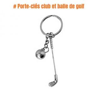 Porte-clés club et balle de golf en acier