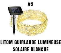Litom guirlande lumineuse solaire blanche