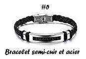 Bracelet semi-cuir et acier bijou homme