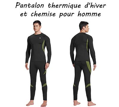 Pantalon thermique d'hiver et tshirt pour homme